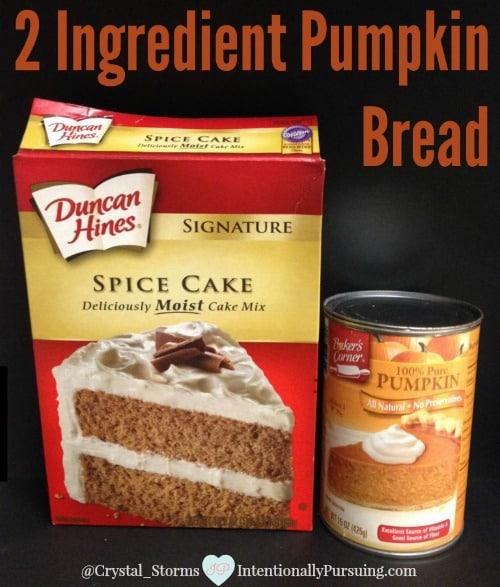 2 Ingredient Pumpkin Bread Crystal Storms