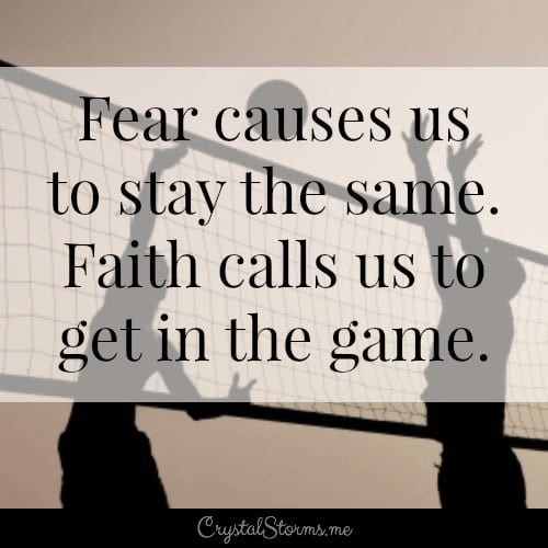 What keeps you from getting in the game? Fear of the unknown? Fear of failure? Fear of making mistakes? It's time to get in the game. So let's figure out how to conquer our fears with faith.