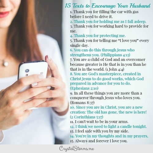 Need some ideas to build up your man? Here are 15 Texts to Encourage Your Husband