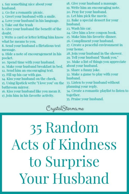 random acts of kindness to surprise your husband   crystal