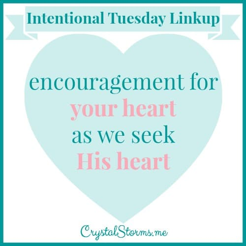 Welcome to the Intentional Tuesday Linkup!  You have words that will build up and bless others, so I'm asking you to share those words with us. I'm looking for posts that will encourage women