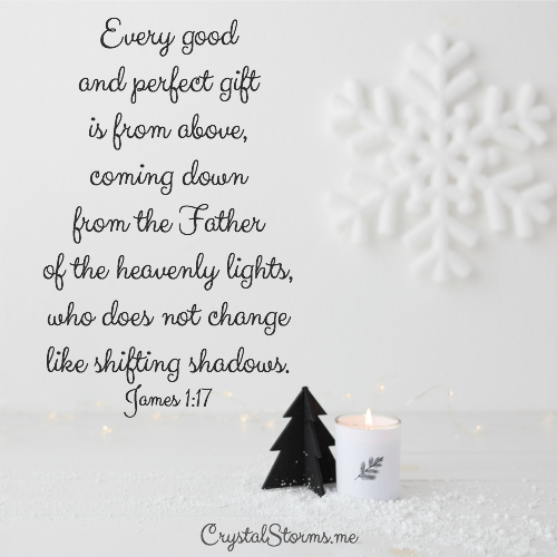 "Need a gift idea or two? I love giving and receiving inspirational gifts that encourage the heart. Today I'm sharing a few of my favorite things. James 1:17 tells us, ""Every good and perfect gift is from above, coming down from the Father of the heavenly lights, who does not change like shifting shadows."""