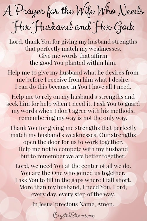 A Prayer For The Wife Who Needs Her Husband And Her God