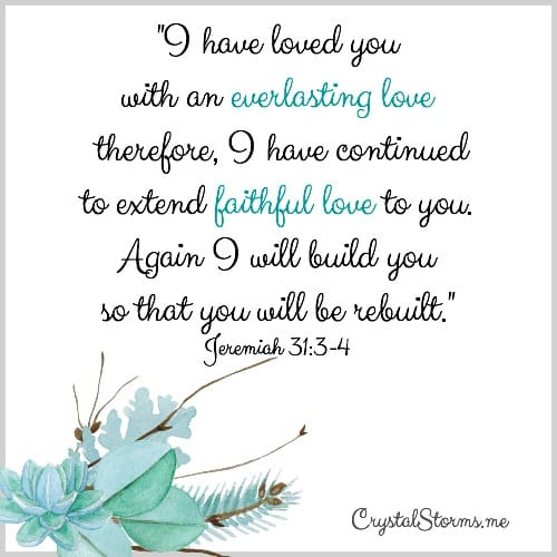 "Do you ever wish Jesus would instantly heal all your broken places? Without having to expose your pain? Jeremiah 31:3-4: ""I have loved you with an everlasting love therefore, I have continued to extend faithful love to you. Again I will rebuild you so that you will be rebuilt."""