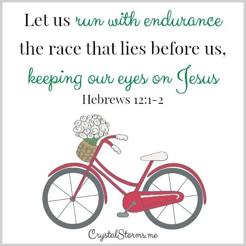 "Paul compares our faith to a race and gives us the secret for how to race to the end in Hebrews 12:1-2. ""Let us run with endurance the race that lies before us, keeping our eyes on Jesus."""