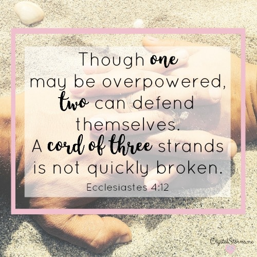 What do we learn when a Christian marriage ends? One plus one doesn't always equal two in marriage. Ecclesiastes 4:12: Though one can be overpowered, two can defend themselves. A cord of three strands is not quickly broken.