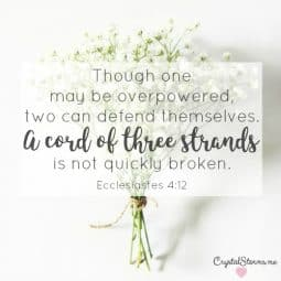 Though one may be overpowered,two can defend themselves.A cord of three strands is not quickly broken (Ecclesiastes 4:12). Here are 35 verses to pray for your husband because praying for our husbands invites God into our marriages. Making Him that third strand that holds things together.