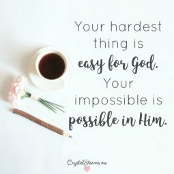 What are you going through that you question if you have strength to make it through? That thing that you try and fail? That struggle you can't break free from? What you think is impossible? 2 Kings 3:18: This thing is easy in the eyes of the Lord. Your hardest thing is easy for God. Your impossible is possible in Him.