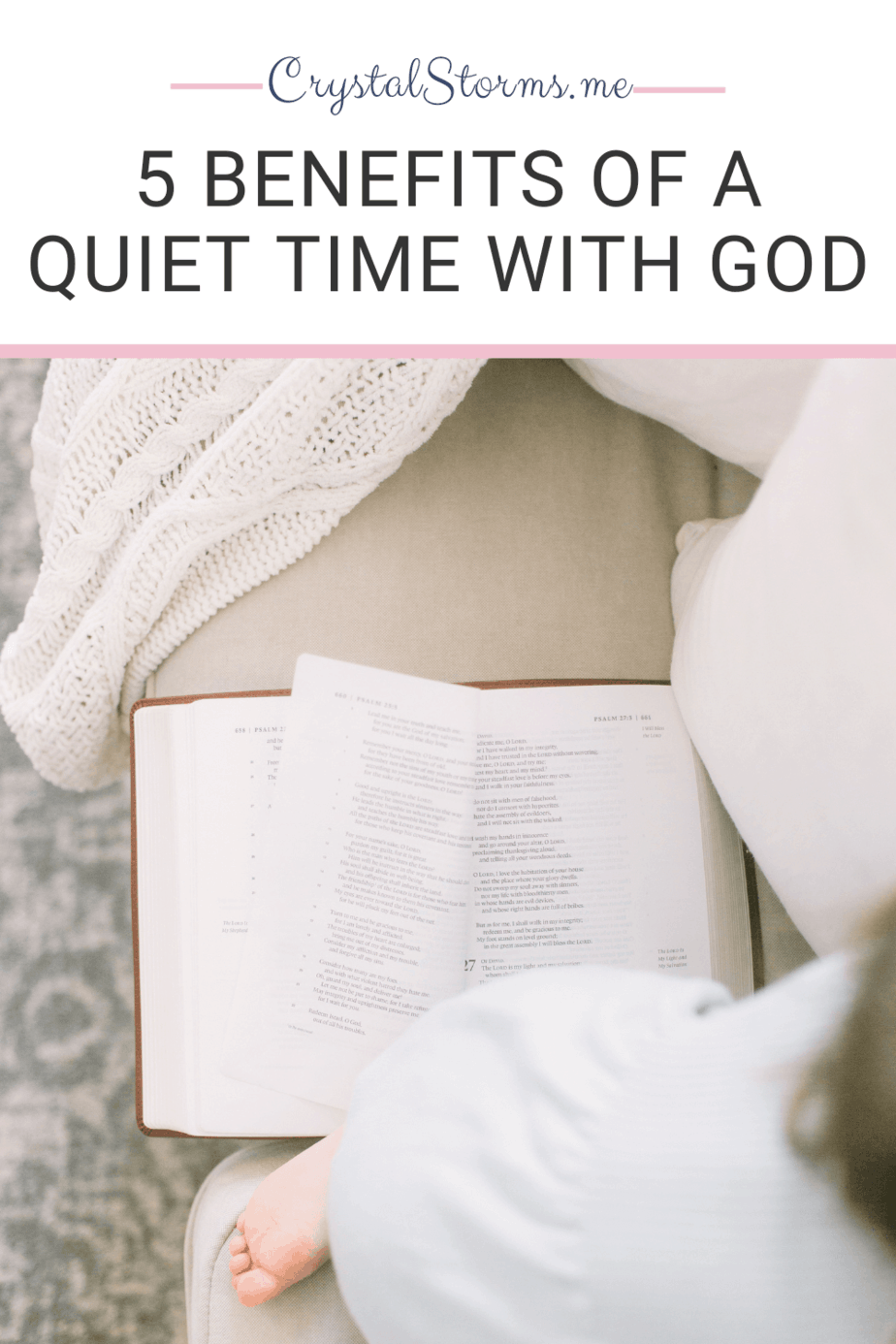 What are the benefits of a quiet time with God? A quiet time with God allows my heart to connect with His heart. Mark 1:35: Very early in the morning, while it was still dark, Jesus got up, left the house and went off to a solitary place, where He prayed. Discover 5 Benefits of a Quiet Time with God.