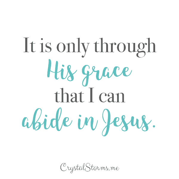 It is only through His grace that I can abide in Jesus.   What I Learned From Having Abide as My Word of the Year